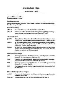Curriculum vitae. Prof. Dr. Heike Trappe