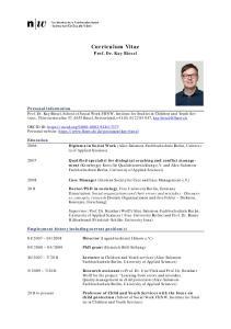 Curriculum Vitae. Prof. Dr. Kay Biesel