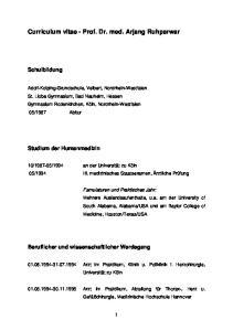 Curriculum vitae - Prof. Dr. med. Arjang Ruhparwar
