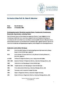 Curriculum Vitae Prof. Dr. Peter R. Schreiner