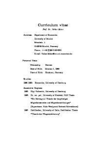 Curriculum vitae. Prof. Dr. Volker Meier