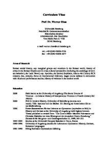 Curriculum Vitae. Prof. Dr. Werner Riess