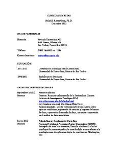 CURRICULUM VITAE. Rafael J. Rivera-Ortiz, Ph.D. Diciembre 2012