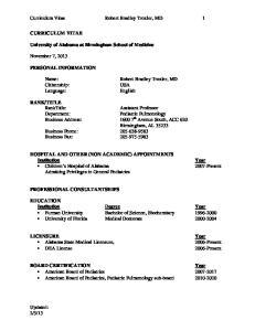 Curriculum Vitae Robert Bradley Troxler, MD 1