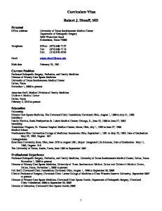 Curriculum Vitae. Robert J. Dimeff, MD