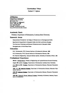 Curriculum Vitae Robert P. Lipton