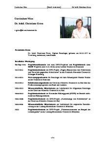 Curriculum Vitae [Stand: ] Dr. habil. Christiane Gross