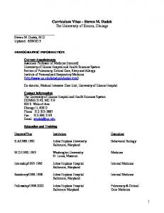 Curriculum Vitae Steven M. Dudek The University of Illinois, Chicago