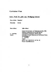Curriculum Vitae. Univ. Prof. Dr. phil. nat. Wolfgang Liebert