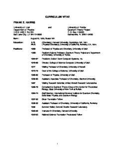 CURRICULUM VITAE. University of Utah and University of Florida