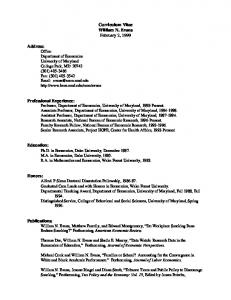 Curriculum Vitae William N. Evans February 2, 1999