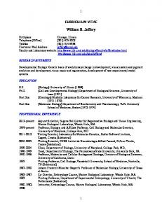 CURRICULUM VITAE. William R. Jeffery