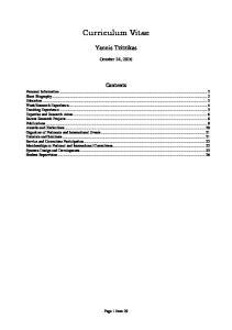 Curriculum Vitae. Yannis Tzitzikas. October 24, Contents