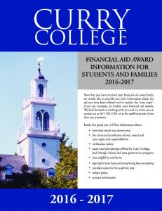 CURRY COLLEGE FINANCIAL AID AWARD INFORMATION FOR STUDENTS AND FAMILIES