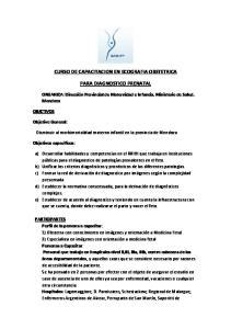 CURSO DE CAPACITACION EN ECOGRAFIA OBSTETRICA PARA DIAGNOSTICO PRENATAL