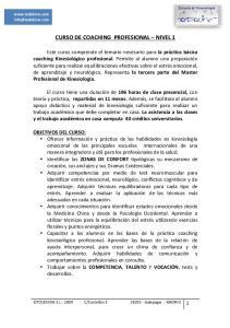 CURSO DE COACHING PROFESIONAL NIVEL 1