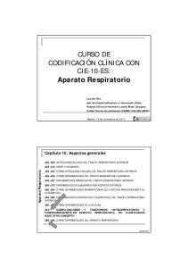 CURSO DE CODIFICACIÓN CLÍNICA CON CIE-10-ES: Aparato Respiratorio