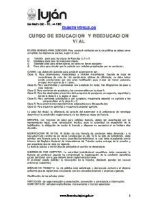 CURSO DE EDUCACION Y REEDUCACION VIAL