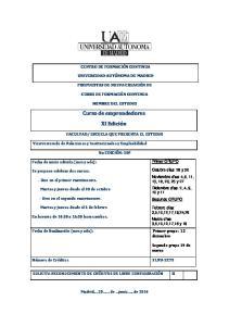 Curso de emprendedores. XI Edición