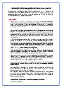 CURSO DE ENTRENADOR DE HALTEROFILIA - NIVEL I