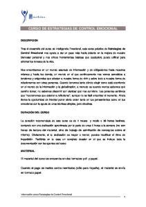 CURSO DE ESTRATEGIAS DE CONTROL EMOCIONAL