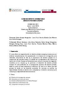 CURSO DE EXPERTO UNIVERSITARIO DERECHO PRIVADO EUROPEO