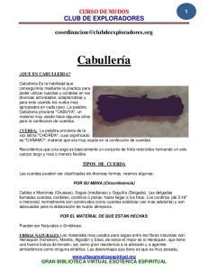 CURSO DE NUDOS CLUB DE EXPLORADORES. Cabullería