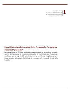 Curso El Estatuto Administrativo de los Profesionales Funcionarios, modalidad presencial