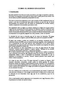 CURSO: EL RIESGO EDUCATIVO