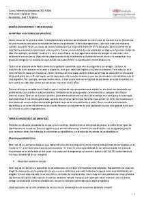 Curso: Inferencia Estadística (ICO 8306) Profesores: Esteban Calvo Ayudantes: José T. Medina DISEÑO DE MUESTREO Y APLICACIONES