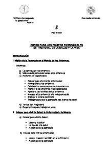 CURSO PARA LOS EQUIPOS PARROQUIALES DE PASTORAL DE LA SALUD Y LA VIDA