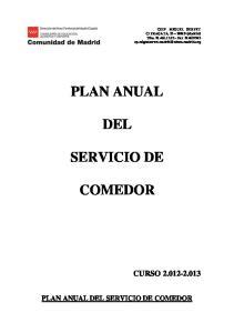 CURSO PLAN ANUAL DEL SERVICIO DE COMEDOR