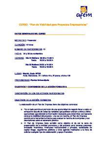 CURSO. Plan de Viabilidad para Proyectos Empresariales