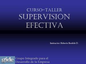 Curso-Taller SUPERVISION EFECTIVA