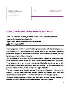 CURSO TEMAS DE DERECHO DE SOCIETARIO