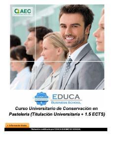 Curso Universitario de Conservación en Pastelería (Titulación Universitaria ECTS)