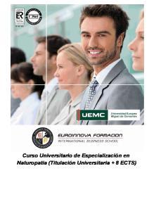 Curso Universitario de Especialización en Naturopatía (Titulación Universitaria + 8 ECTS)
