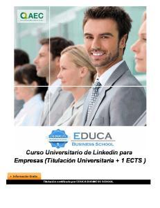 Curso Universitario de Linkedin para Empresas (Titulación Universitaria + 1 ECTS )