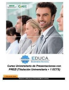 Curso Universitario de Presentaciones con PREZI (Titulación Universitaria + 1 ECTS)