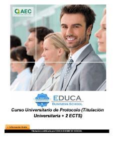 Curso Universitario de Protocolo (Titulación Universitaria + 2 ECTS)