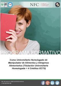 Curso Universitario Homologado de Manipulador de Alimentos y Alérgenos Alimentarios (Titulación Universitaria Homologada + 4 Créditos ECTS)