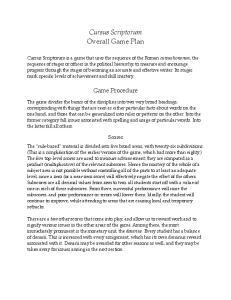 Cursus Scriptorum Overall Game Plan