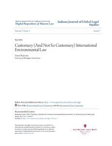 Customary (And Not So Customary) International Environmental Law