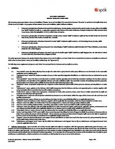 CUSTOMER AGREEMENT MASTER TERMS AND CONDITIONS