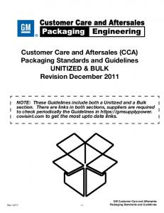 Customer Care and Aftersales (CCA) Packaging Standards and Guidelines. UNITIZED & BULK Revision December 2011