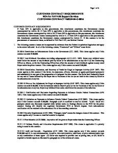 CUSTOMER CONTRACT REQUIREMENTS BOA for NAVAIR Support Services CUSTOMER CONTRACT N G-0016