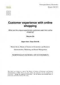 Customer experience with online shopping