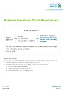 Customer Investment Profile Questionnaire