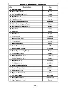 Customer List - Densified Wood & Plywood Presses. Sr No Customer Name Place. 1 Aashiana Plywood Patna. 2 Abhishek Wood Product Gujarat