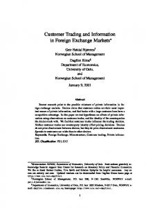 Customer Trading and Information in Foreign Exchange Markets